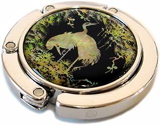 Antique Alive Mother of Pearl Foldable Table Purse Caddy Handbag Holder Hanger Hook, Bird Green, 3.2 Ounce