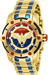 Women's DC Comics Quartz Watch with Stainless Steel Strap, Gold, Blue, 20 (Model: 26839)