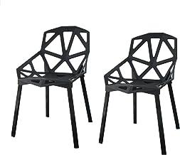 【2脚セット】ジェネリックチェア チェアー カフェ 椅子 イス ダイニングチェア ガーデンチェア 屋外用 INK-S127 タートルシリーズ (ブラック)