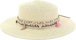 Outdoor Seaside Tourism Vacation Beach Visor Color Tassel Woven Belt Fashion Beach Hat Women's Flat Top Sun Hat (Color : Light Khaki, Size : 56-58CM)