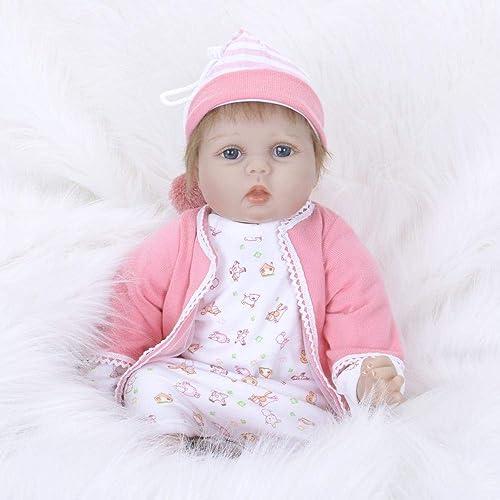 Hongge Reborn Baby Doll,Lebensechte Reborn Puppe Sieht real Neugeborenes Baby Reborn Puppe Kind Spielzeug Geschenk 55cm