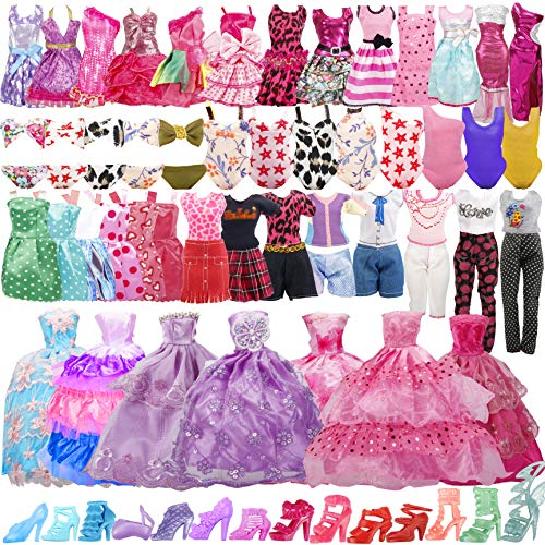 35 Pack Handmade Doll Clothes Including 5 Wedding Gown Dress 5 Party Dress 4 Braces Skirt 3 Sport Suits 3 Bikini Swimsuits 15 Shoes for Barbie Doll and Other11.5 Inch Doll