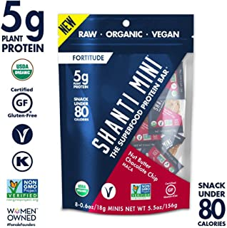 SHANTI BAR Vegan Organic Superfood Mini Protein Bar | 5g Plant Based Protein | Raw Gluten Free Snack Bars | Performance Nutrition | Nut Butter Chocolate Chip Maca, 8 Count