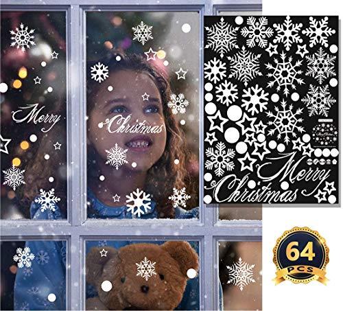 64 Pcs Weihnachten Fenster Klammert Schneeflocken Große Aufkleber Xmas Party Dekorationen Winter Urlaub Ornamente Neujahr Aufkleber 24 X 18 Zoll