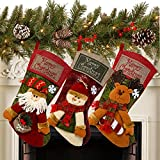 Sunnyglade 3PCS 18' Christmas Stocking Classic Large Stockings Santa, Snowman, Reindeer Xmas Character for Family Holiday Christmas Party Decorations