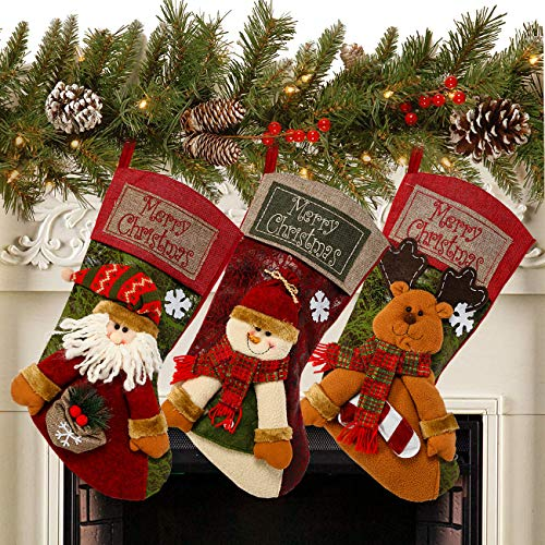 "Sunnyglade 3PCS 18"" Christmas Stocking Classic Large Stockings Santa, Snowman, Reindeer Xmas Character for Family Holiday Christmas Party Decorations"