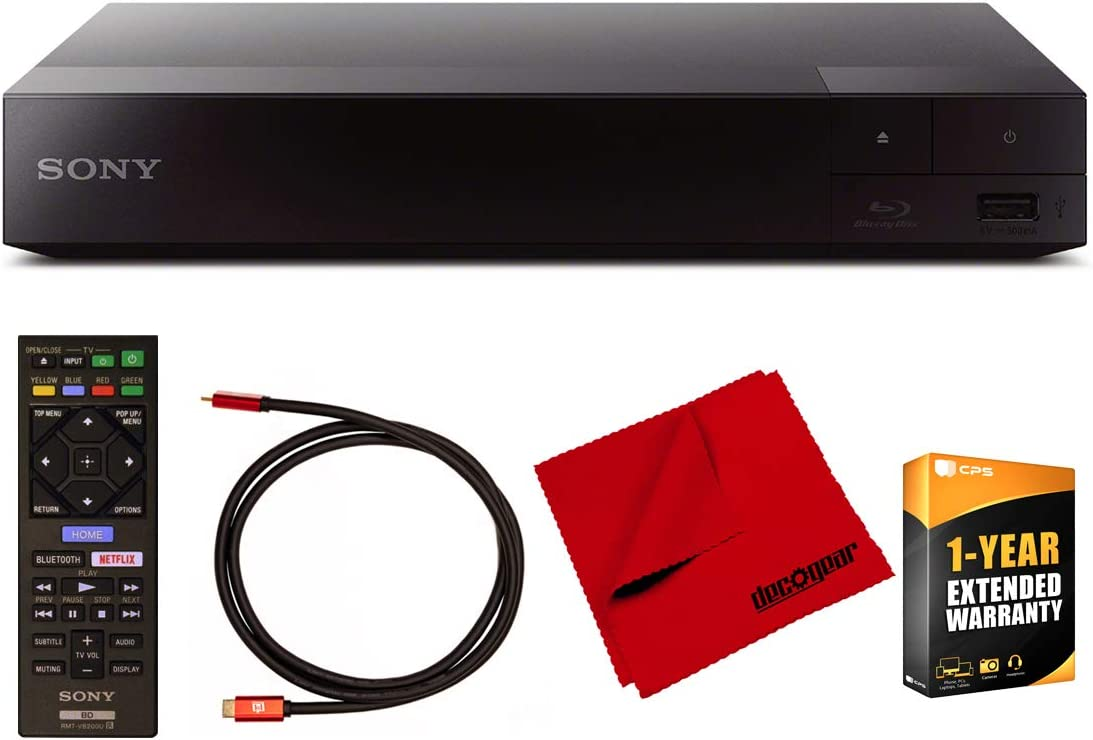 Sony BDP-S6700 4K Upscaling 3D Streaming Blu-ray Disc Player with Dolby TrueHD and DTS Master Audio Bundle with Deco Gear 6 ft High Speed HDMI 2.0 Cable and Microfiber TV Screen Cloth