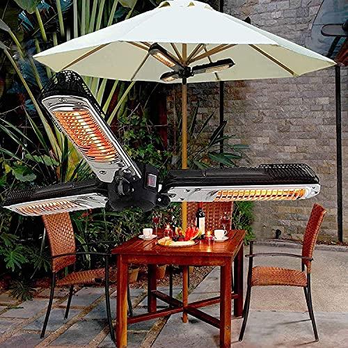 WXking Calentador de patio infrarrojo, Calentador de parasol eléctrico plegable 2000W Calentadores de paraguas al aire libre 3 Calentadores de calor 3 Partido de calor para jardines de protección y us