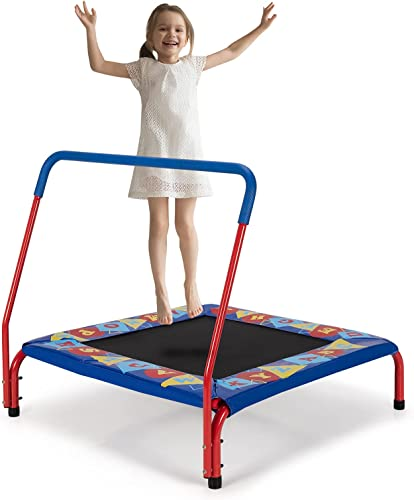 high quality Giantex 36-Inch Mini 2021 Trampoline for Kids, ASTM lowest Approved Square Workout Rebounder Trampoline with Safety Padded Cover, Foamed Handrail, Suit for 3-7 Years Kids, Indoor Fitness Small Trampoline online
