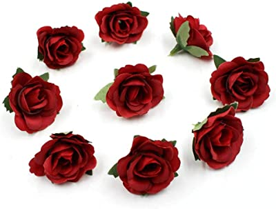 Artificial Flowers Mini Silk Rose Head Wedding Home Decoration DIY Flower Wall Scrapbook Gift Box Craft Flowers 30pcs/lot 3.5cm (red)