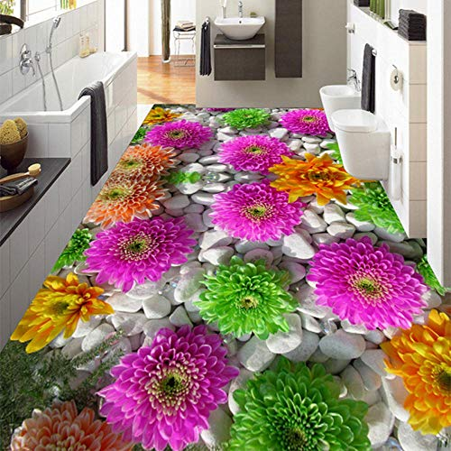 Mural de suelo autoadhesivo personalizado Flores en 3D Plantas de adoquines Pisos Pegatinas Baño Sala de estar PVC Papel tapiz impermeable 3 D-250 * 175cm