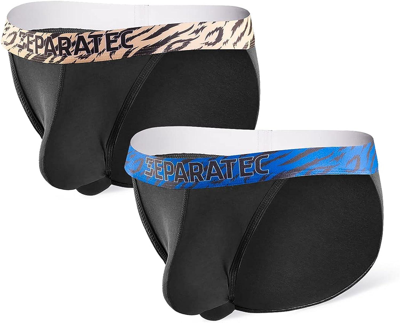 Separatec Men's Soft Cotton Modal Dual Pouch Underwear Bulge Enhancing Low Rise Bikini Briefs 2 Pack