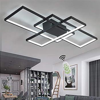 LED Deckenleuchte Wohnzimmer Lampen Dimmbar Deckenlampe Modern Eckig Design  Decke Leuchen Aluminium Lampenschirm Pendelleuchte Wohnzimmerlampe