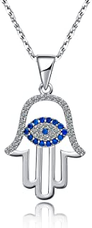 925 Sterling Silver Evil Eye&hamsa White Blue Cz Womens Pendant Necklace