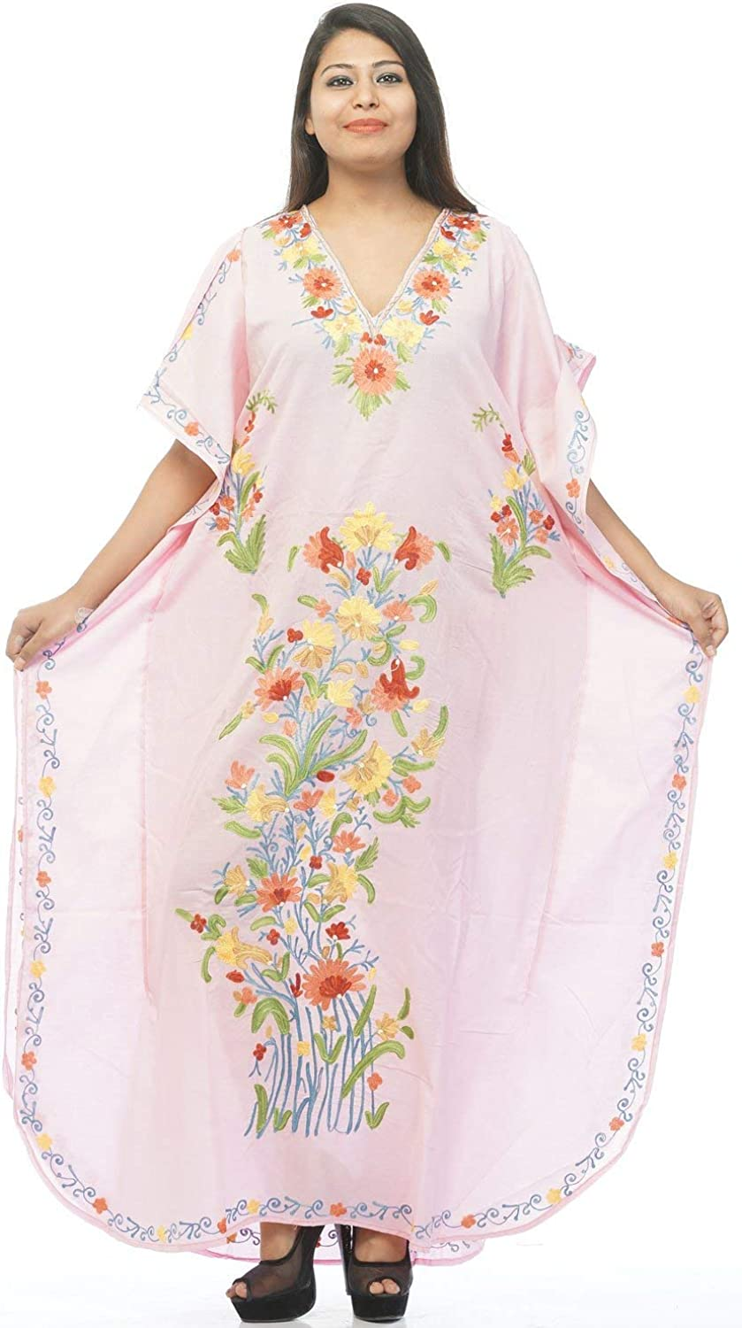 Odishabazaar Cotton Kashmiri Kaftan Aari Work Caftan Dress Beach Cover Up