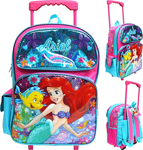 "Disney The Little Mermaid Ariel 16""Large Rolling School Backpack Girl's Book Bag"