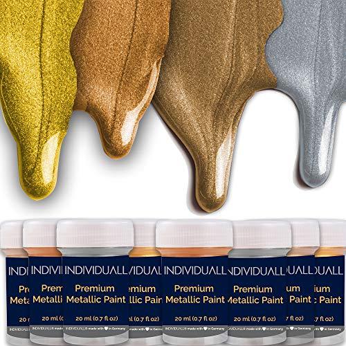 individuall Premium Metallic Farben Set | Gold Silber Bronze Kupfer | 8 Acrylfarben & Malfarben mit Glitter Metall Effekt