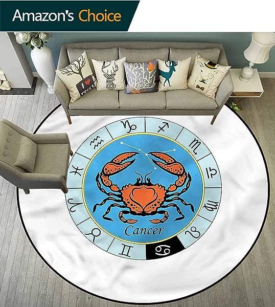 RUGSMAT Zodiac Cancer Modern Washable Round Bath Mat Crab Motif Sea Animal Non Slip Rug Round 31