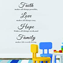 WOVTCP Faith Makes All Things Possible, Love, Hope, Family Wall Art in Words Vinyl Lettering Decals