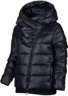 NIKE Womens Down Asymmetrical Puffer Coat Black M