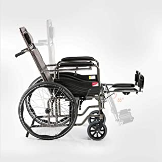 Lightweight Wheelchair ,Aluminum Transport Folding Chair with Handbrakes ,Self-propelled Chair with Bedpan,19 inch Leather...