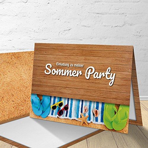 5 Einladungskarten mit passenden Umschlägen, Einladungskarten fürs Grillfest, Sommerfest, Gartenfest, Gartenparty, Klappkarten im Set zu 5 Stk.Strand