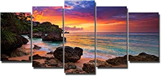 PIY Canvas Wall Paintings for Living Room, Beach Sunset Pictures, Small (24x50 Overall by 5 Piece)