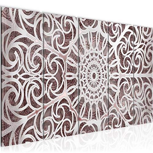Runa Art Wandbild XXL Mandala Abstrakt 200 x 80 cm Beige Weiss 5 Teilig - Made in Germany - 109655a