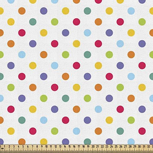 ABAKUHAUS Geométrico Tela por Metro, Alegre Diseño Lunar, Decorativa para Tapicería y Textiles del Hogar, 1M (148x100cm), Multicolor