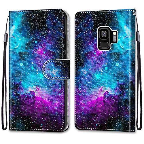 Nadoli Handyhülle Leder für Samsung Galaxy S9 Plus,Bunt Bemalt Lila Sternenhimmel Trageschlaufe Kartenfach Magnet Ständer Schutzhülle Brieftasche Ledertasche Tasche Etui