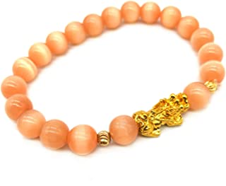 MANRUO Feng Shui Bracelet 8mm Natural Tiger's Eye Beads Bracelet with Gold Plated Pi Xiu/Pi Yao Pendant Amulet Bangle Attract Lucky Wealthy (Light Blue)