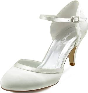 Elegantpark HC1509 Escarpins Femme Bride Cheville Boucle Bout Rond Mary Janes Satin Chaussures Pompes a Talon de Mariee Ma...