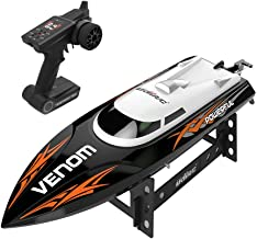 Kuerqi【US Stock】Remote Control Boat for Pools and Lakes, High Speed 15mph Radio Control Boat for Kids and Adults, 2.4Ghz RC Boat with Self-righting, Reverse for Boys and Girls