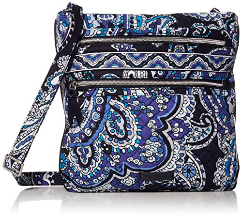 Vera Bradley Women's Vera Bradley Women s Signature Cotton Triple Zip Hipster Crossbody Purse Deep Night Paisley One Si, Deep Night Paisley, One Size US