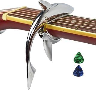Imelod亜鉛合金ギターカポサメカーポ、アコースティック&エレキギター用、手触りがよく、フレットなしのバズそして耐久性のある(シルバー)