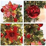 Weihnachtskranz mit LED Lichterkette Beleuchtung 270cm Weihnachtsgirlande künstlich Weihnachten Girlande Weihnachtsdeko Weihnachten, Türkranz Innen und Außen (rot) - 4