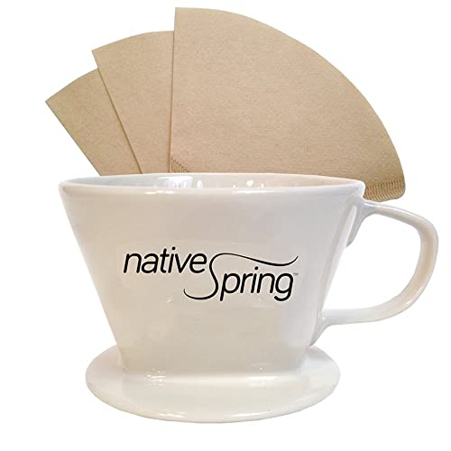 Native Spring Ceramic Coffee Pour Over Dripper Single Serve Brewer Pack Includes 40 Filters Size no