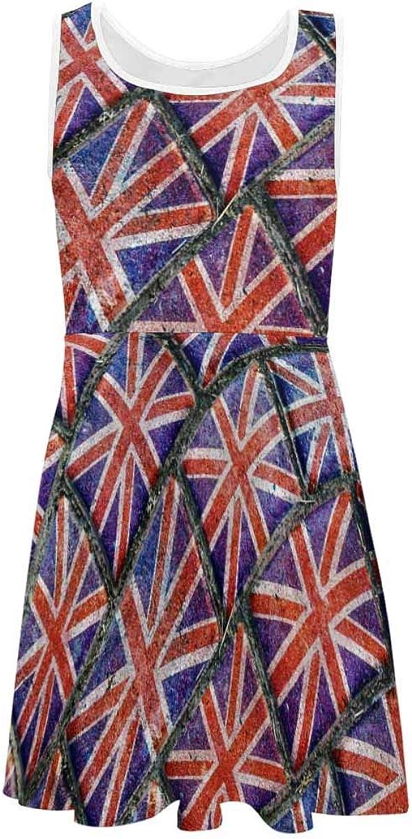 InterestPrint Girls Sleeveless Dress Kids Printed Casual Summer Sundress 4-13 Year England National Flag in Grunge Style 6T