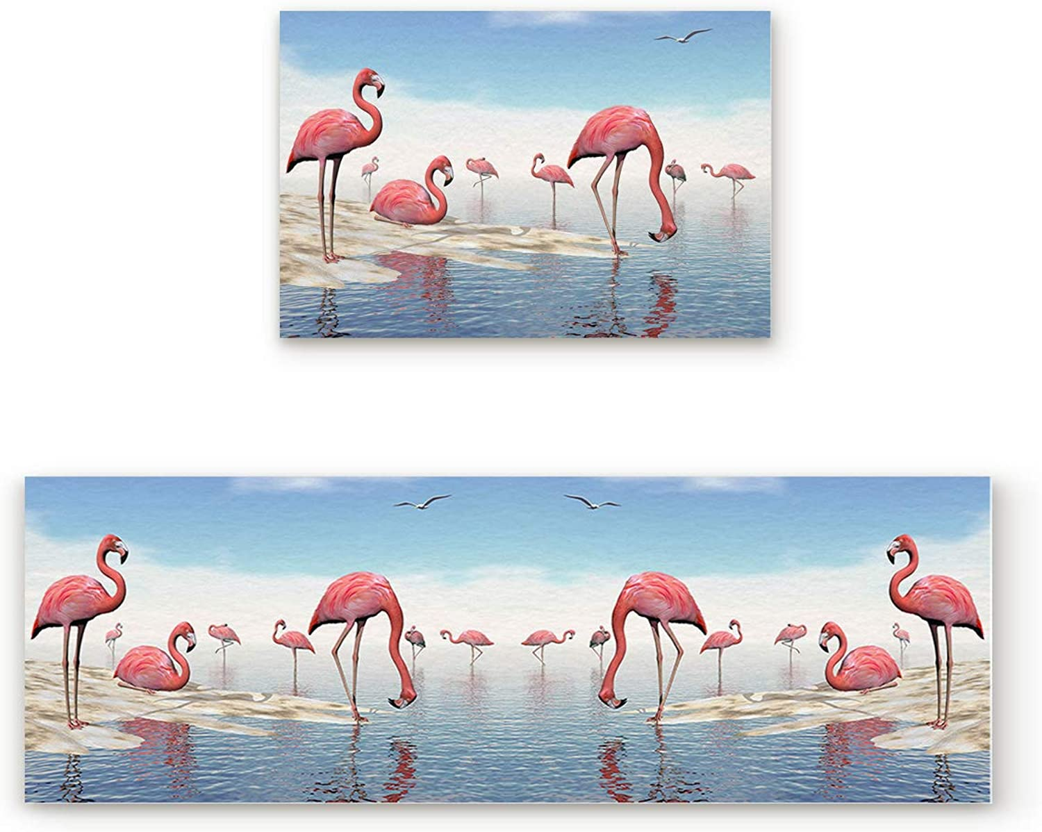 Aomike 2 Piece Non-Slip Kitchen Mat Rubber Backing Doormat Flamingo in The Lake Runner Rug Set, Hallway Living Room Balcony Bathroom Carpet Sets (19.7  x 31.5 +19.7  x 47.2 )