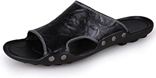 Men's Beach Slide Sandals Comfort Non Slip Soft Outdoor Leather Sandals