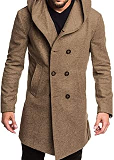 625690e891990 Men Double Breasted Pea Coat Winter Hooded Long Casual Wool Outwear Overcoat