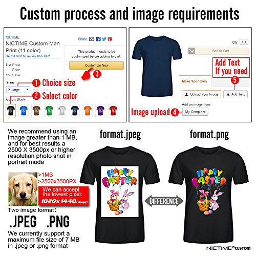 NICTIME Custom Tshirts Design Your Own For Men Front And Back Print