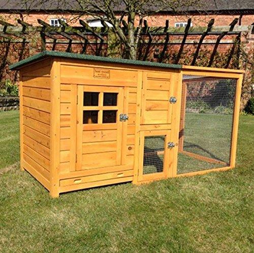 FeelGoodUK Hühnerhaus mit einem Dach vollständig öffnen – Schönes Modell mit integrierten Lauf und Reinigungsanwendungen und Nacht Tür – CH14 NATURAL & EXT DE - 7
