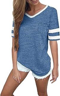 6c47959d62bb1 Oasisocean Women s Summer V Neck Short Sleeve Baseball Tee Raglan Shirt  Colorblock Striped Casual Tops with