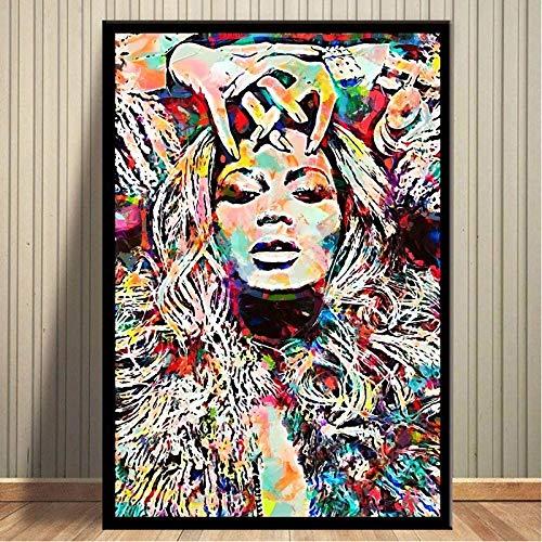 Flduod Beyonce Poster und Drucke Aquarell Pop Art Leinwand Malerei Bilder an der Wand Abstrakt Dekorativ Wohnkultur Plakat