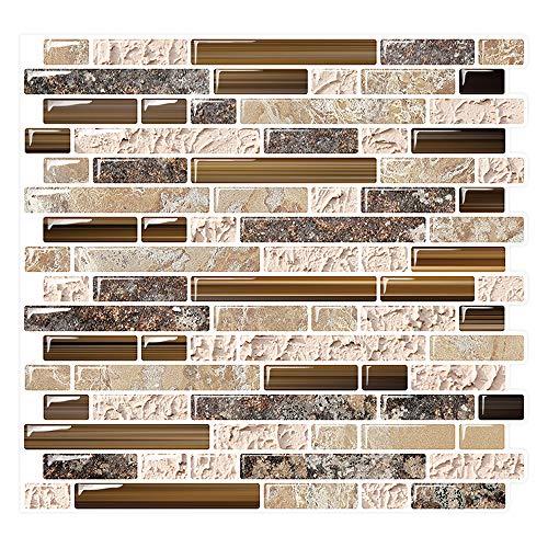 Peel and Stick Backsplash Tile for Kitchen Adhesive Stick on Backsplash Laundry Bathroom Textured Vinyl Sticker Wallpaper Smart Tile in Sandstone (10 Sheets 10 x10 )