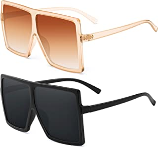 Square Oversized Sunglasses For Women - FEIDU Trendy Fashion Sunglasses For Women Men Celebrity/ Flat Top Shades 2020 Update