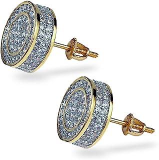 گوشواره گل میخ مردانه TOPGRILLZ 925 Iced CZ Premium Diamond Cluster Zirconia Round Screw عقب حلقوی گوشواره گل میخ مردانه جواهرات هیپ هاپ