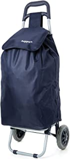 Hoppa 47L Lightweight Shopping Trolley, Hard Wearing & Foldaway for Easy Storage with 3 Years Guarantee (Navy)