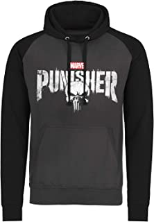 Marvel Officially Licensed The Punisher Distressed Logo Baseball Hoodie